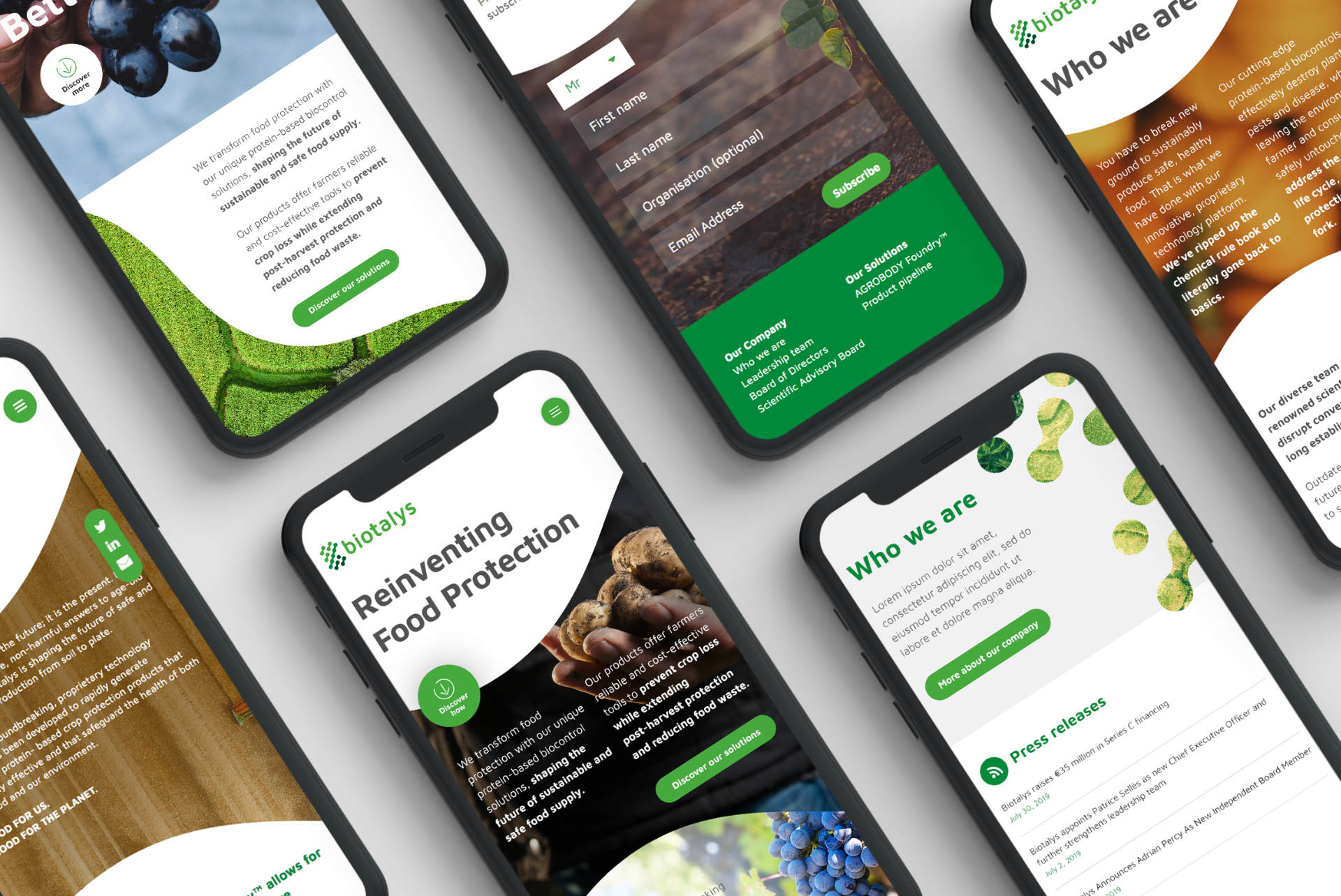 collage of biotalyls branding images on iphone